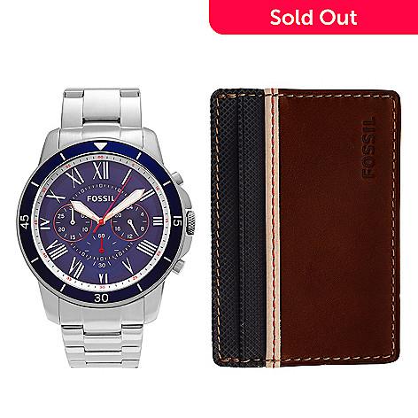80ed7b040291 649-835- Fossil Men s Grant Quartz Chronograph Stainless Steel Bracelet  Watch w  Wallet