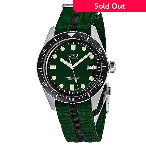 oris men s 42mm divers 65 swiss made automatic date fabric strap
