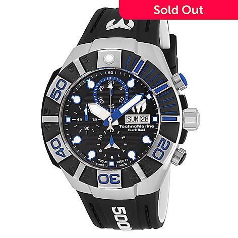 663b32daa74d0 650-575- TechnoMarine Men's 45mm Black Reef Automatic Chronograph Silicone  Strap Watch w/