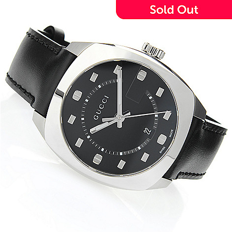 99d2b653d34 650-929- Gucci Men s 40mm GG2570 Swiss Made Quartz Sapphire Crystal Leather  Strap Watch
