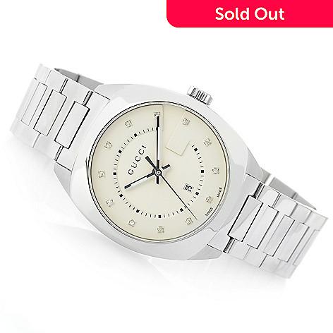 dcd2fa42a0a 650-930- Gucci Women s GG2570 Swiss Made Quartz Diamond Accented Stainless  Steel Bracelet Watch