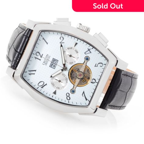 Croton Men's Tonneau Imperial Automatic Open Heart Leather Strap Watch