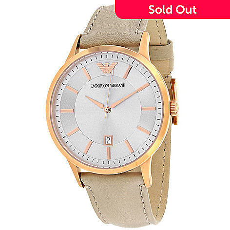 60226a44b97 651-964- Emporio Armani Men s 43mm Classic Quartz Date Leather Strap Watch