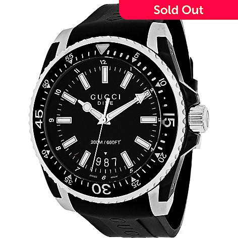 65a3fe8a85b 651-979- Gucci Men s 45mm Dive XL Swiss Made Quartz Rubber Strap Watch