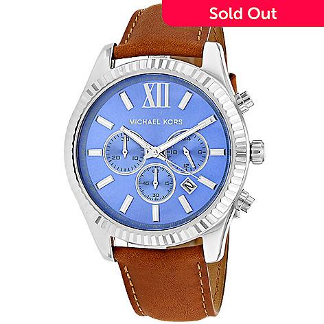 0facf9b53fca 652-008- Michael Kors Men s 45mm Lexington Quartz Chronograph Leather Strap  Watch
