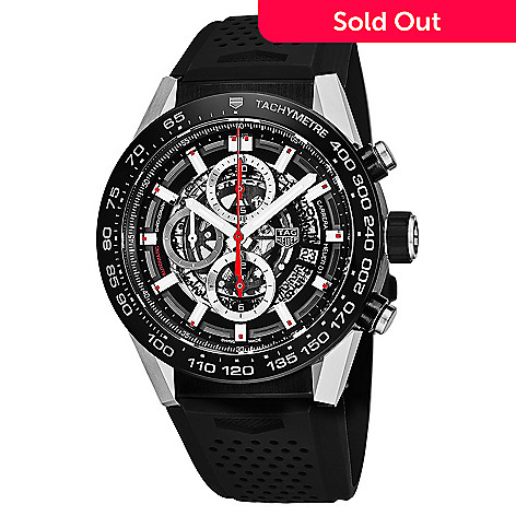 e53ace985da 652-802- Tag Heuer Men s 45mm Carrera Swiss Made Automatic Chronograph  Skeletonized Rubber Strap