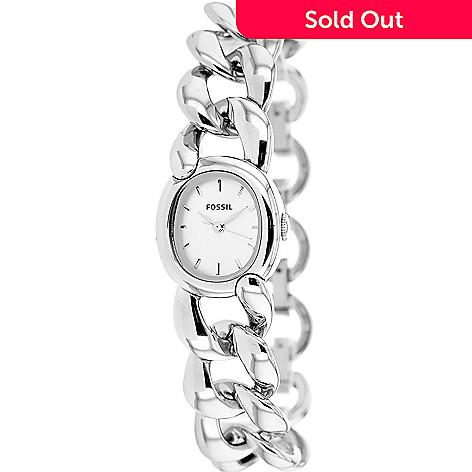 653 262 Fossil Women S Oval Curator Quartz Stainless Steel Chain Link Bracelet Watch