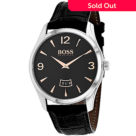 8e611058a85 653-277- Hugo Boss Men s 41mm Commander Quartz Date Leather Strap Watch