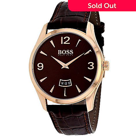 7c1ae7f86e98 653-278- Hugo Boss Men's 41mm Commander Quartz Date Brown Leather Strap  Watch