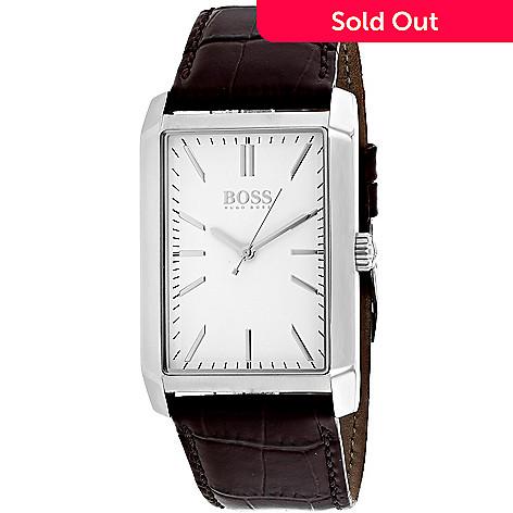f15ef36b5 653-283- Hugo Boss Men's Rectangular Greg Quartz Brown Leather Strap Watch
