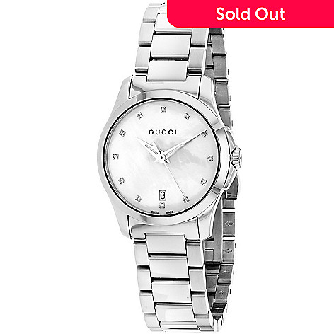3e4445c8dd9 653-726- Gucci Women s G-Timeless Swiss Made Quartz Diamond Accented Mother-