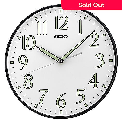 653 893 Seiko White Quiet Sweep Wall Clock W Luminous Arabic Numerals
