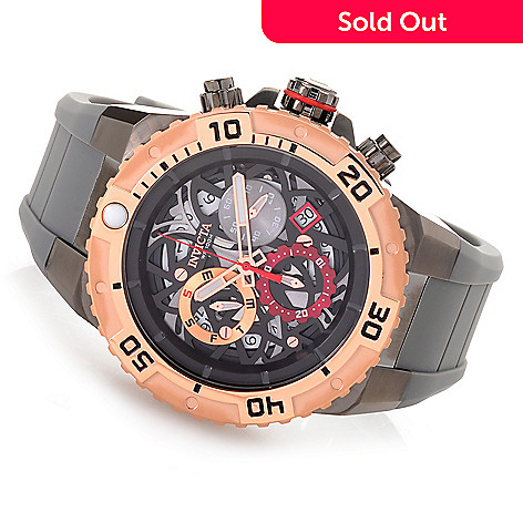 Diver Strap Pro Quartz 51mm Chronograph Silicone Skeletonized Invicta Men's Watch QCBrdxoeWE