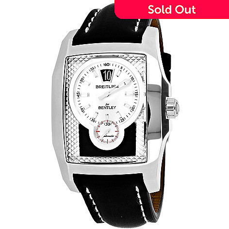 654-920- Breitling Men s Rectangular Bentley Flying B Swiss Made Automatic  Chronograph Leather Strap 7415b20ef