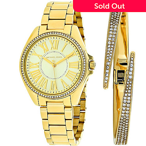 b3a12ac73788 654-979- Michael Kors Women s Kacie Quartz Crystal Accented Gold-tone Bracelet  Watch