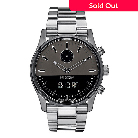 0613d3dae 655-310- Nixon Men's 46mm Swiss Quartz Analog / Digital Stainless Steel  Bracelet Watch