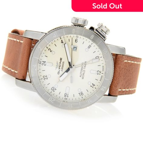 Glycine Men S 44mm Airman Swiss Made Automatic Gmt Leather Strap Watch