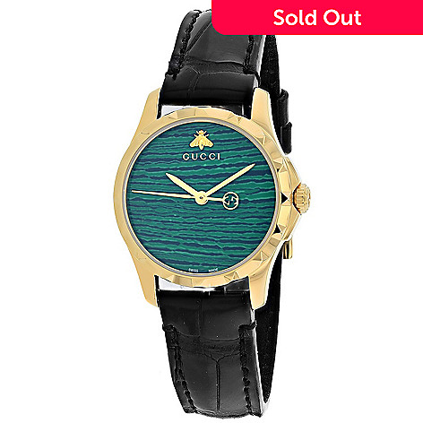 9b62c505837 656-593- Gucci Women s G-Timeless Swiss Made Quartz Green Dial Leather Strap