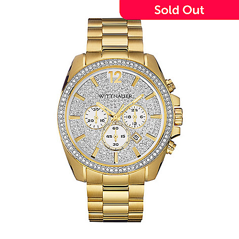 Wittnauer Mens 41mm Quartz Chronograph Crystal Accented Dial Gold