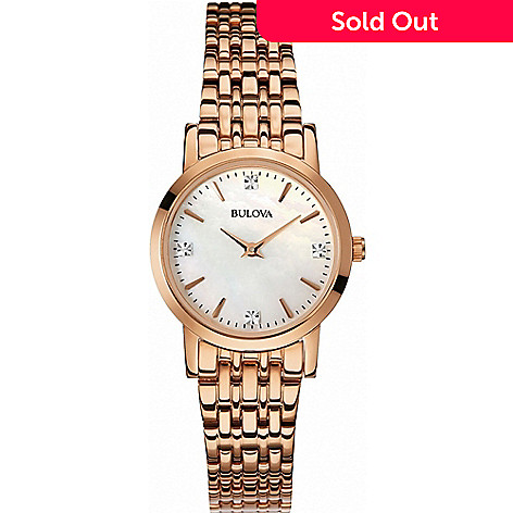 29287ced6 656-700- Bulova Women's Diamond Accented Mother-of-Pearl Dial Rose-