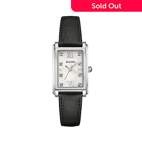 8ca67052a54 656-704- Bulova Women s Rectangular Quartz Diamond Accented Mother-of-Pearl  Dial