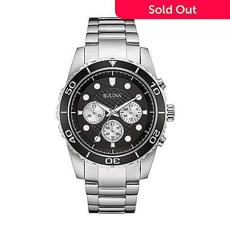 898f72bc3 656-805- Bulova Men's 40mm Sport Quartz Chronograph Black Dial Stainless  Steel Bracelet Watch