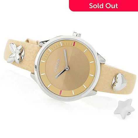 524f007cf4 657-868- Furla Women's Metropolis Quartz Leather Strap Watch w/ 3  Interchangeable Pins