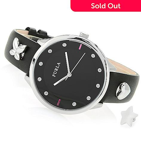 abc7ef4fb9 657-869- Furla Women's Metropolis Quartz Leather Strap Watch w/ 3  Interchangeable Pins