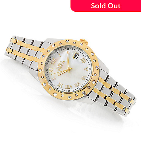 Invicta Women's Angel Quartz Crystal Accented Mother-of-Pearl Stainless  Steel Bracelet Watch