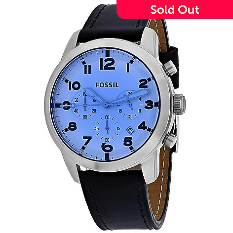 c6951cf0f 659-072- Fossil Men's 44mm Quartz Chronograph Blue Dial Leather Strap Watch