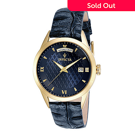 1716f2b8b 659-437- Invicta Women's Vintage Quartz Day / Date Navy Blue Leather Strap  Watch