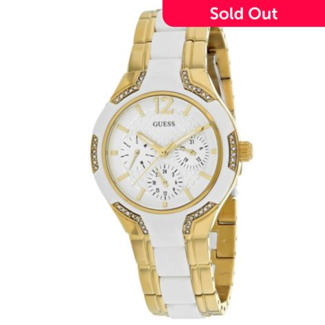 Guess Women's Waterpro Quartz Day & Date Crystal Accented Stainless Steel & Silicone Bracelet Watch