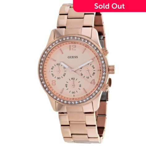 Guess Women s Classic Quartz Chronograph Crystal Accented Rose tone