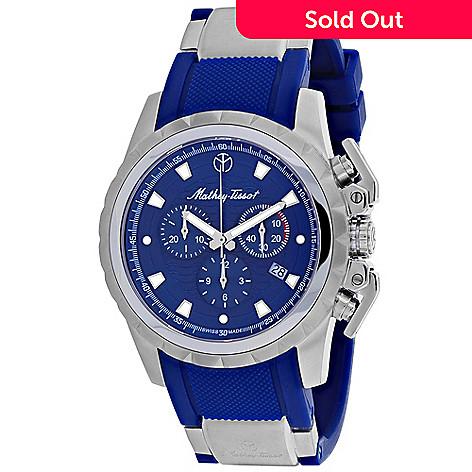 Mathey Tissot Men S 43mm Classic Swiss Made Quartz Chronograph Blue Dial Rubber Strap Watch