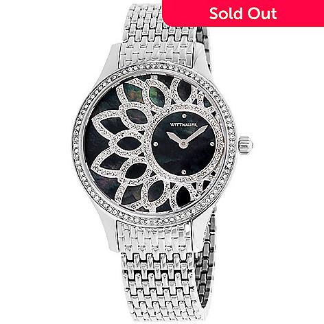 31d49314d2 Wittnauer Women's Quartz Crystal Accented Flower Motif Stainless Steel  Bracelet Watch