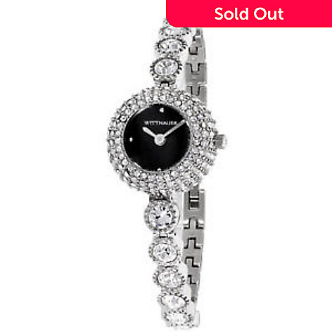 d9d0a1fccaba4c 660-300- Wittnauer Women's Quartz Black Dial Crystal Accented Stainless  Steel Bracelet Watch