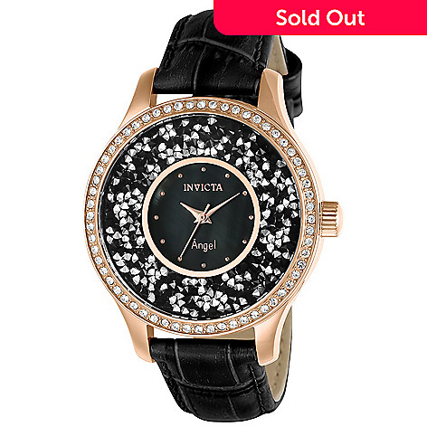 647209048 660-642- Invicta Women's Angel Quartz Crystal Accented Black Mother-of-Pearl