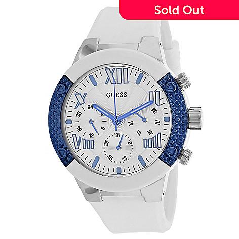 f9f716932 661-284- Guess Women's Classic Quartz Silver-tone White Silicone Strap Watch
