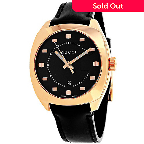 c49653cead6 Gucci Men s 45mm Swiss Made Quartz Date Rose-tone Case Black Leather ...