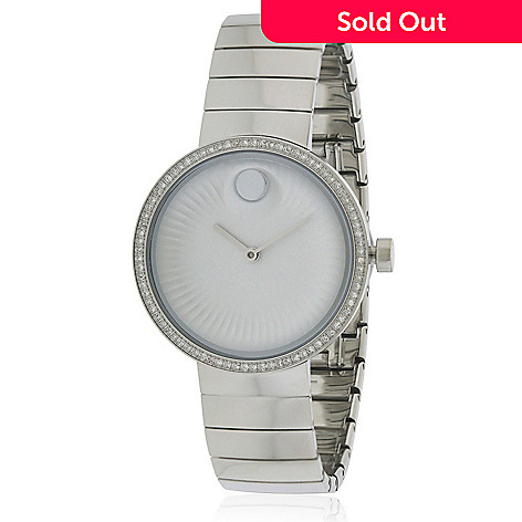 25aaf4699 661-599- Movado Women's Edge Swiss Made Quartz Diamond Accented Silver-tone  Stainless