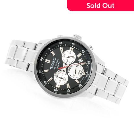 Seiko Men's 43mm, Quartz Chronograph, Stainless Steel Bracelet Watch