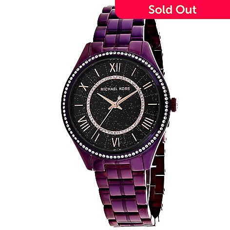 ec19d97f1264 662-163- Michael Kors Women s Lauryn Quartz Purple Stainless Steel Bracelet  Watch