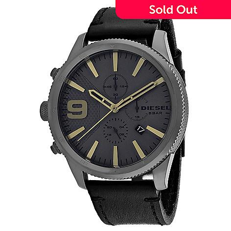 2c21429c6166 662-206- Diesel Men s 50mm Rasp Quartz Date Black Leather Strap Watch