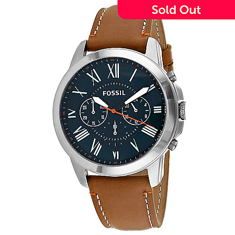 a29964dee54d6 662-215- Fossil Men s 44mm Grant Quartz Chronograph Brown Leather Strap  Watch