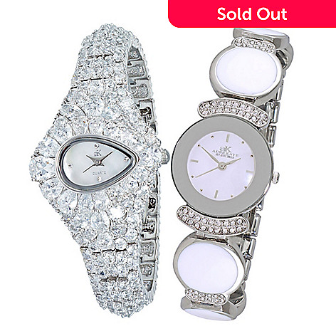 aa672444f85 Adee Kaye Set of 2 Women's Quartz Crystal Accented Mother-of-Pearl ...