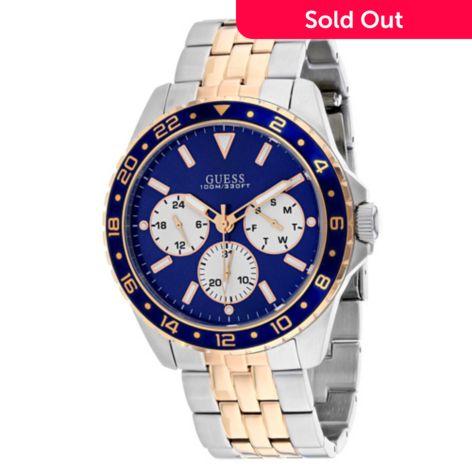 Guess Men's 44mm Odyssey Quartz Blue Dial Stainless Steel Bracelet Watch