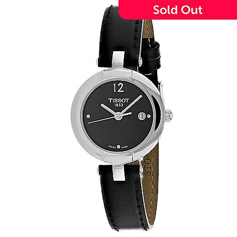 663-417- Tissot Women s Pinky Swiss Made Quartz Date Slim Black Leather  Strap Watch 7f675ce4c5