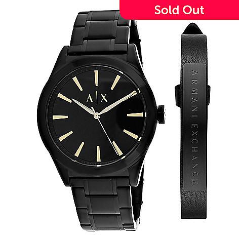 887852782202 663-509- Armani Exchange Men s 44mm Classic Quartz Black Stainless Steel  Bracelet Watch