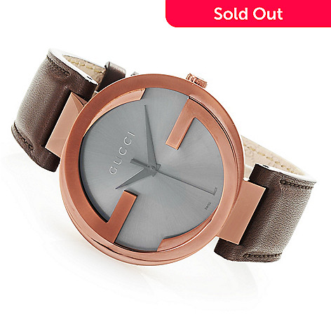 8499e6795e4 663-840- Gucci Men s 42mm Interlocking G Swiss Made Quartz Leather Strap  Watch