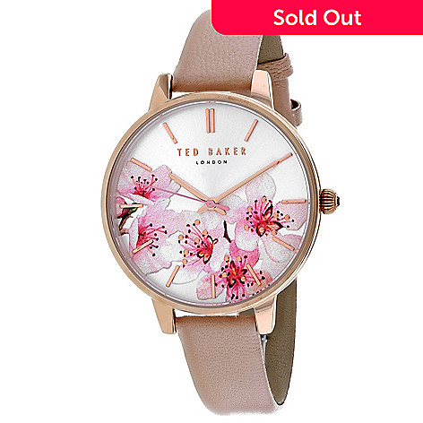 7e33a0a3e 664-050- Ted Baker Women s Classic Quartz Floral Dial Pink Leather Strap  Watch
